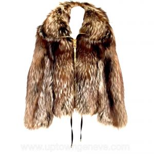 Tom Ford jacket in brown fox fur with large gold zips