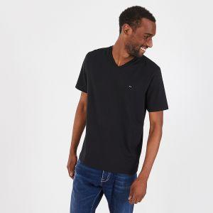T-shirt à col V noir en coton pima léger