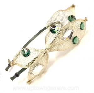 Colette Malouf headband in  silver leaves with clear silver & green beads