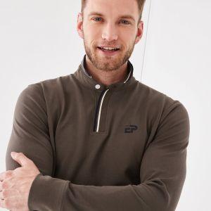 Polo marron en coton pima avec détails rayés