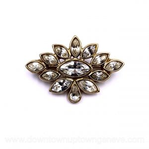 YSL vintage brooch in gold-tone metal & Swarovski crystals