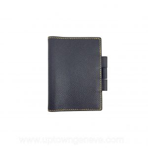 Hermès navy & yellow leather card holder with pen slot