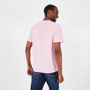 T-shirt à col V rose en coton pima léger