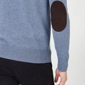 Cardigan zippé bleu en laine et coton uni