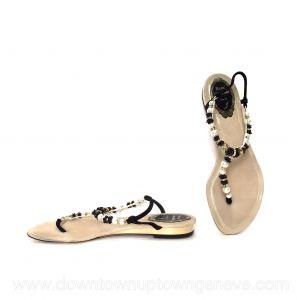 René Caovilla flat T-bar sandals in crystals, faux pearls & black rosettes