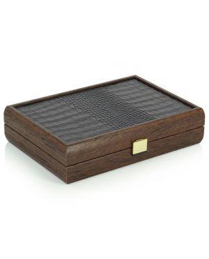 Jeu de cartes en coffret en bois orné de cuir croco