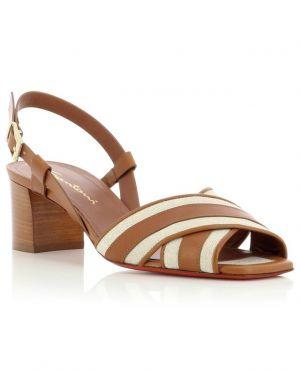 Sandales à talon carré en tissu et cuir