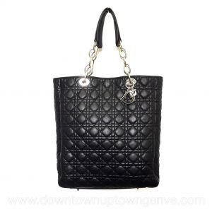 Dior vintage shopping tote in black cannage leather