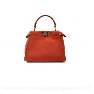 Fendi Selleria Peekaboo mini bag in orange grained leather