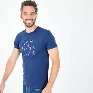 T-shirt bleu en coton flammé imprimé nœuds papillon