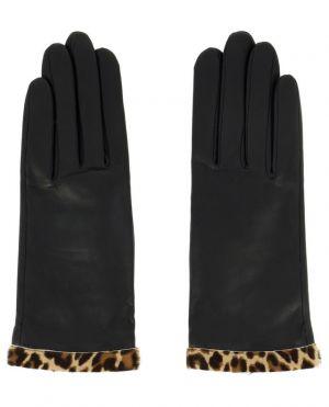 Gants en cuir avec bords imprimés léopard Edith