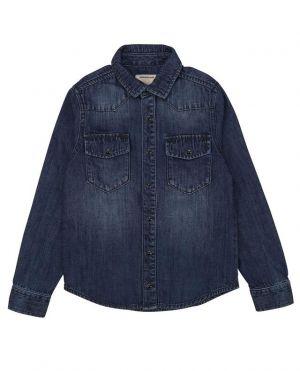 Chemise en jean légèrement délavée