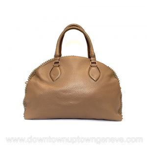 Louboutin Panettone Convertible GM bag in taupe leather with spikes