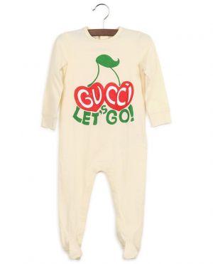 Grenouillère en jersey imprimée Let's Go Gucci Cherries