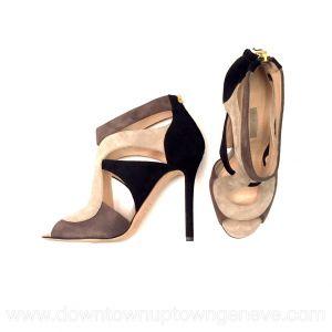 Elie Saab sandals in taupe & brown suede