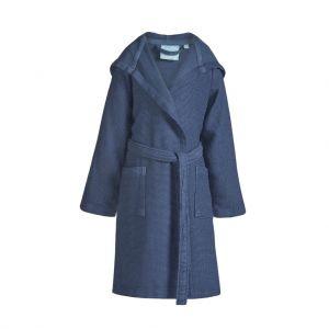 Peignoir pour enfant, garçon, en coton avec capuche, bleu jeans, bambou