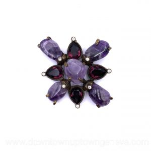 Chanel vintage brooch with amethyst and ruby crystals