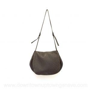 Bottega Veneta shoulder flap bag in intrecciato nappa in taupe