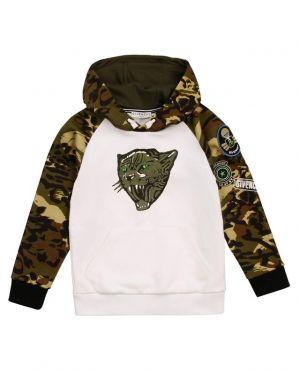 Sweat-shirt à capuche garçon imprimé tigre et motifs camouflage