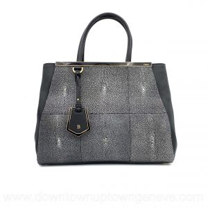 Fendi 2 Jours bag in black leather and galuchat (stingray)