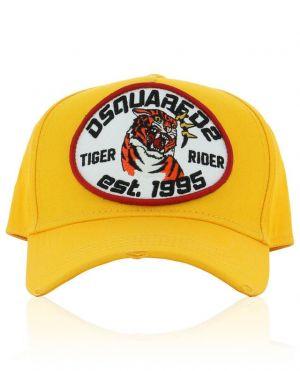 Casquette en coton brodé et déchiré Tiger Rider
