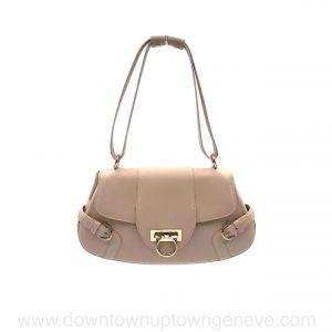 Ferragamo shoulder bag in beige leather