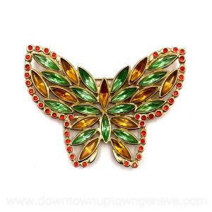 YSL vintage brooch in butterfly shape with green & orange crystals