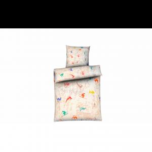 Taie d'oreiller en percale de coton imprimé avec skieurs