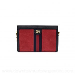 Gucci Ophidia PM bag in red suede & midnight blue leather