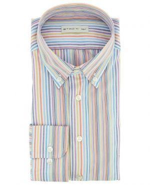 Chemise colorée en coton rayé avec col boutonné
