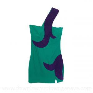 Versace cocktail dress in green with purple suede swirl insert
