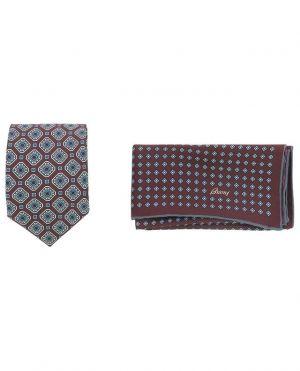 Coffret cravate et pochette imprimées losanges