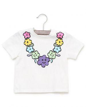 T-shirt en coton imprimé de fleurs