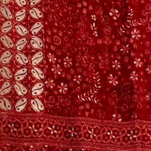 Foulard rouge batik sur soie
