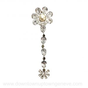 YSL Rive Gauche vintage brooch with faux pearl and large hanging crystals