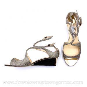 Jimmy Choo Lance wedge sandals in metallic gold fabric with metallic heel