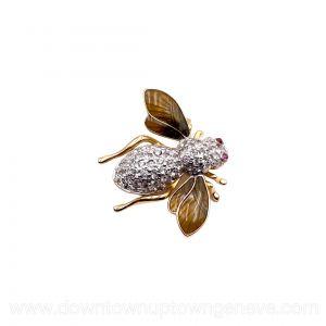 Judith Leiber bee brooch in crystals and enamel