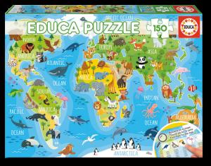 Puzzle 150 pcs - Mappemonde des Animaux