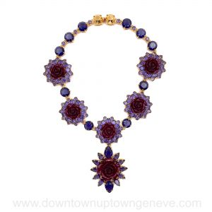 Prada necklace in purple crystals with burgundy metal roses on goldtone metal