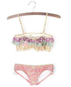Bikini bandeau fleuri multicolore Carnaby Frill
