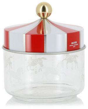 Boîte de cuisine en verre avec couvercle en fer blanc Barattolo