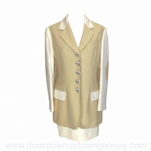 Moschino vintage Save Nature jacket and skirt set in beige and cream rayon