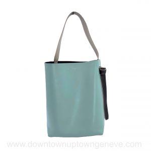 Céline Twist bucket bag in aqua, brown, cream & black leather