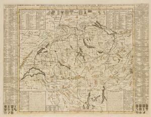 """Carte de la Suisse: """"Carte generale des treize cantons Suisses et des differents etats de leur dependance"""" (reproduction)"""