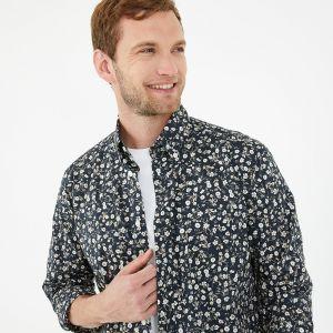 Chemise marine en coton premium à motif fleuri