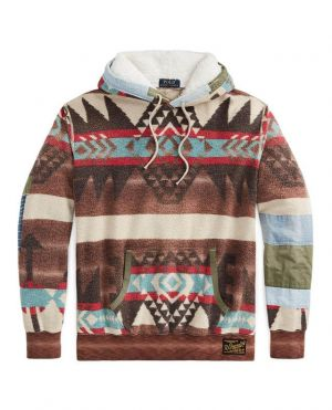 Sweat-shirt à capuche en polaire Distressed Southwestern