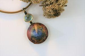 Pendentif quartz rouge et bleu