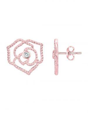 Boucles d'oreilles  plaqué or 750 millièmes avec Diamant HSI