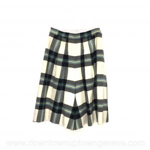 Hermès shorts in cream, blue and yellow tartan wool