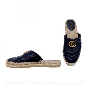 Gucci mule espadrilles in black leather with gold double Gs
